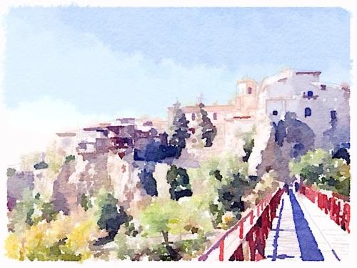 La ciudad de Cuenca, y sus famosas casas colgadas, vistas desde el conocido puente de San Pablo